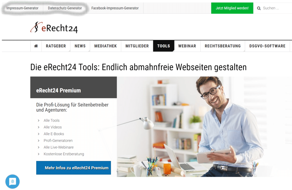 Blog Business aufbauen eRecht24