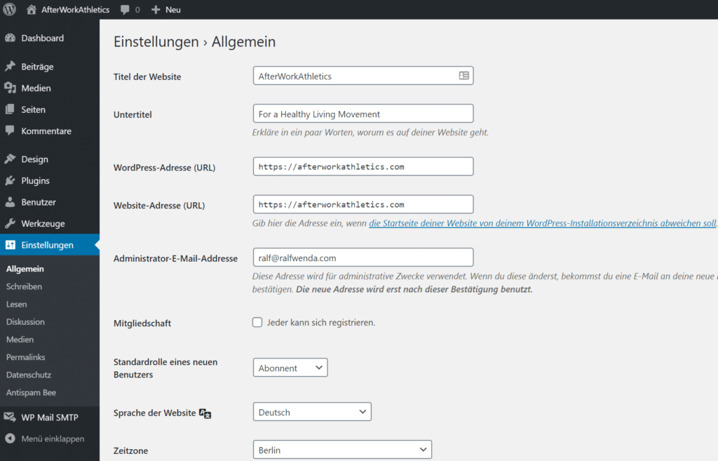 Blog Business WordPress Einstellungen