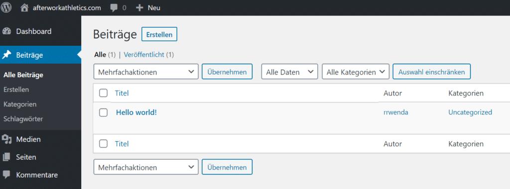 WordPress Seiten und Beiträge