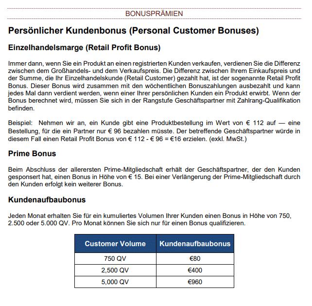 Auszug aus dem Kyäni Kompensationsplan für Deutschland