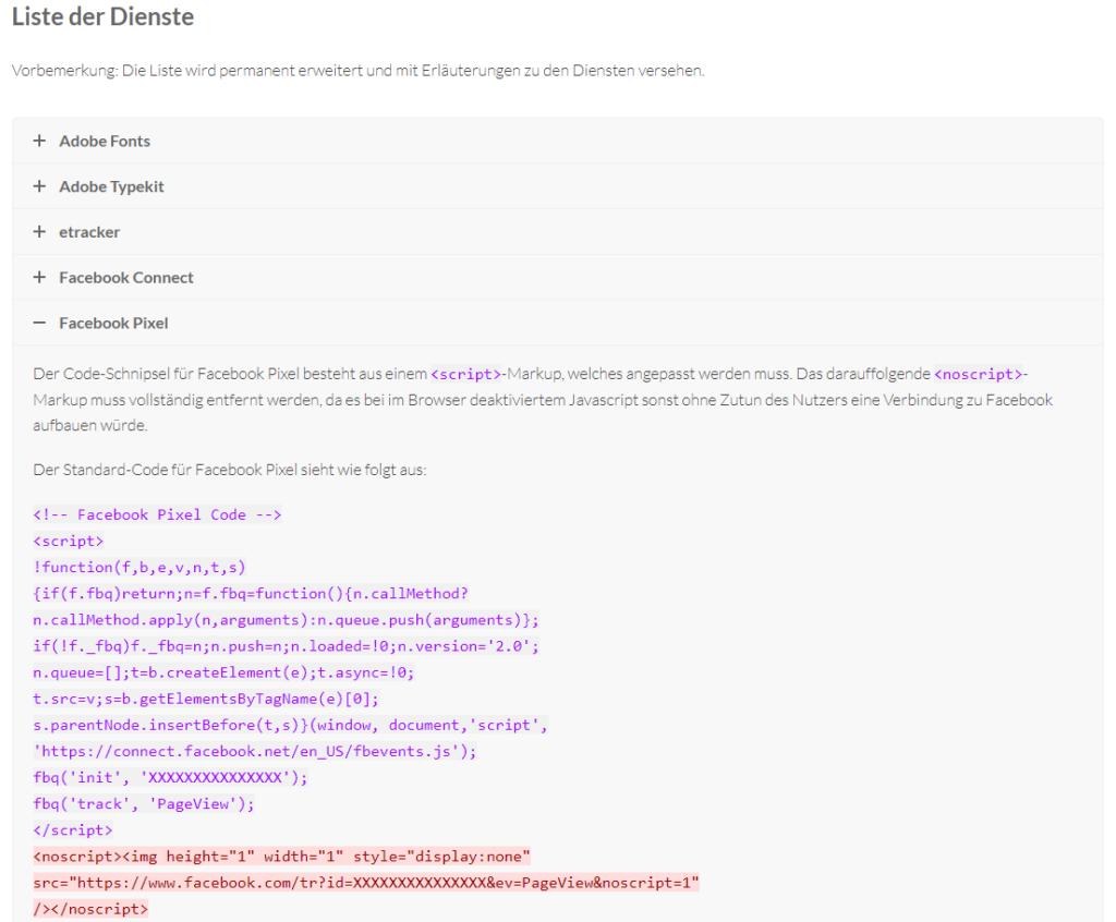 Beispiel einer Usercentrics Skriptvorlage.