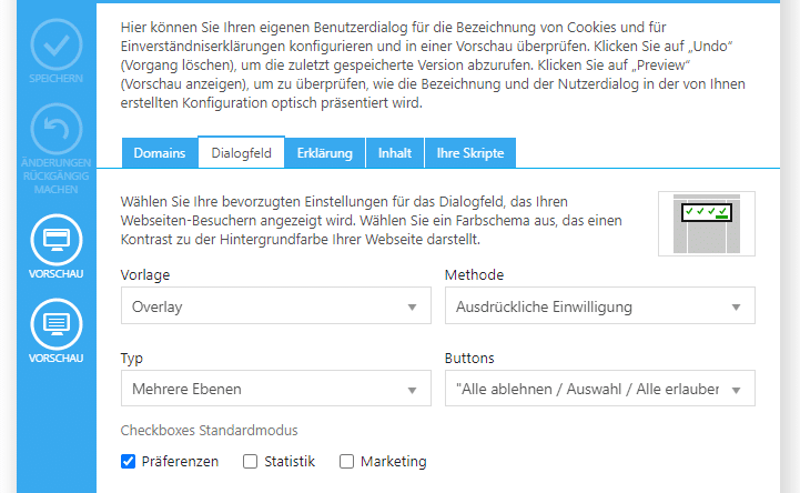 Möglichst DSGVO-konforme Einstellungen beim Cookiebot Plugin nutzen.