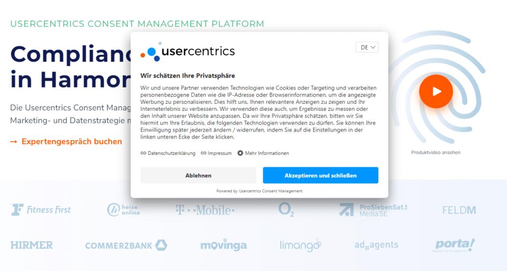 Usercentrics im Zusammenspiel mit eRecht24 Abo ist saustark!