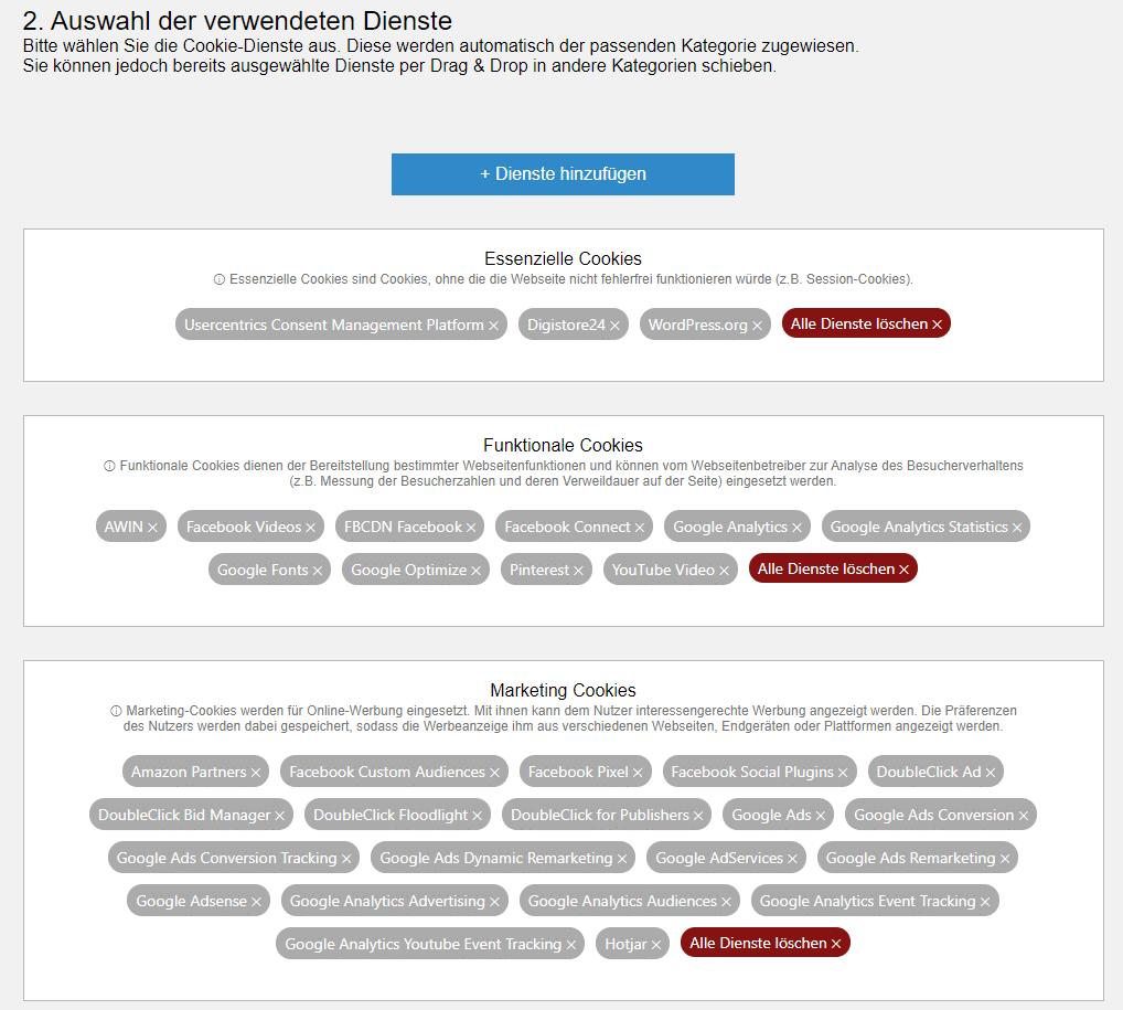 """""""Kleiner"""" Ausschnitt der Usercentrics Dienste-Auswahl."""